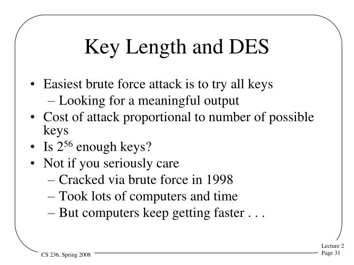 Key Length and DES