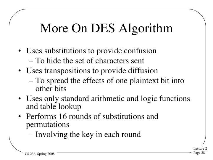 More On DES Algorithm