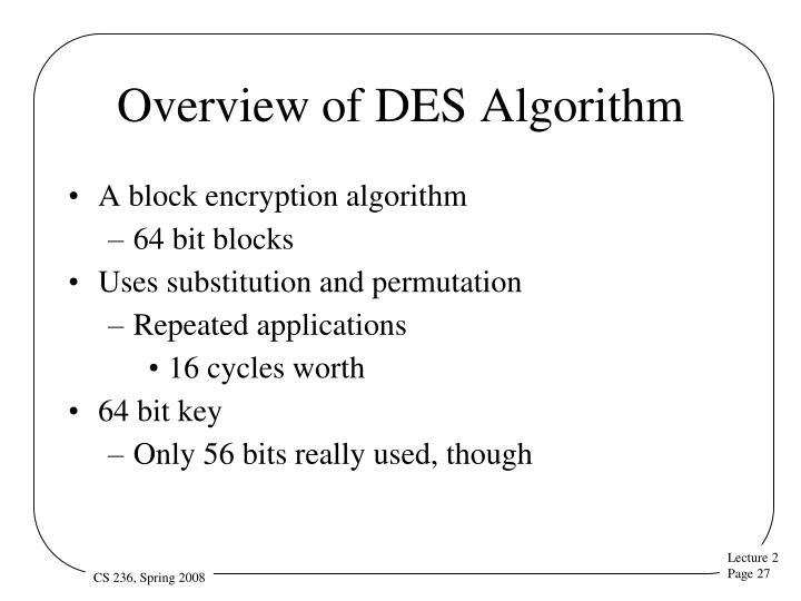 Overview of DES Algorithm