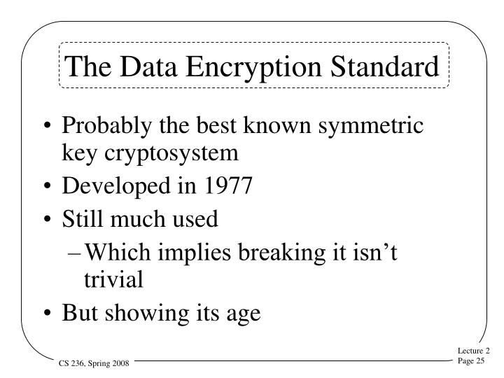 The Data Encryption Standard