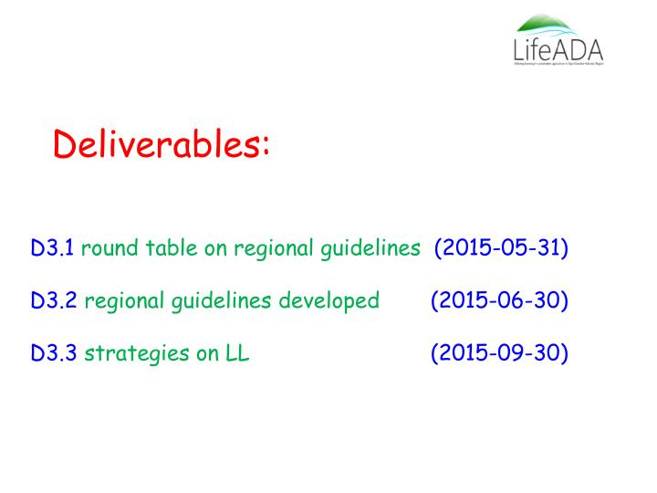 Deliverables: