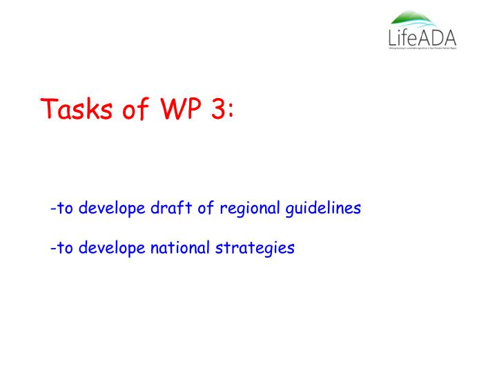 Tasks of WP 3: