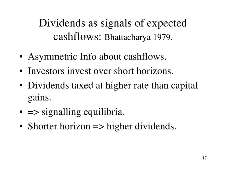 Dividends as signals of expected cashflows: