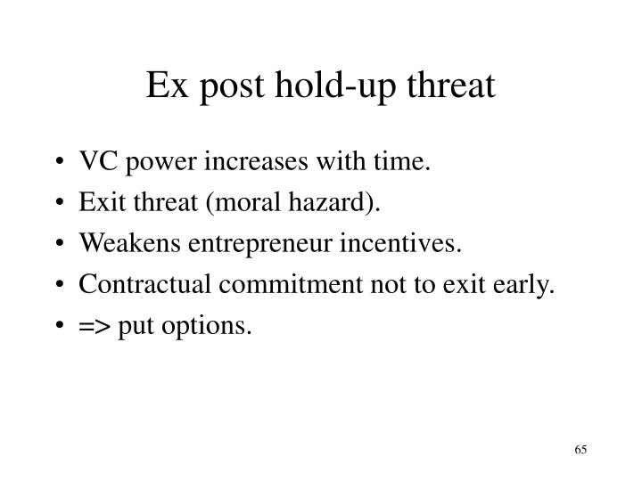 Ex post hold-up threat