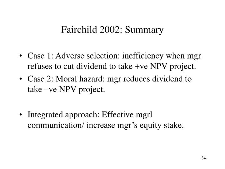Fairchild 2002: Summary
