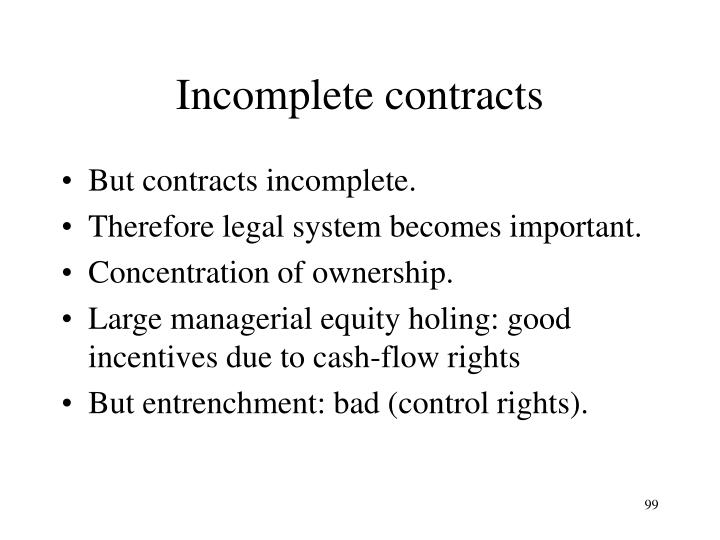 Incomplete contracts