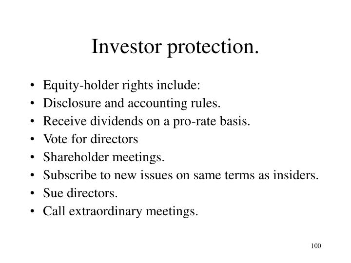 Investor protection.