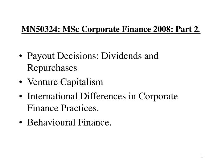 Mn50324 msc corporate finance 2008 part 2