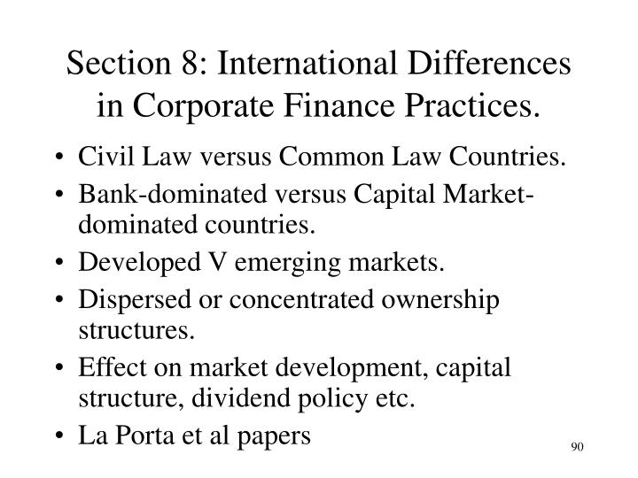 Section 8: International Differences in Corporate Finance Practices.