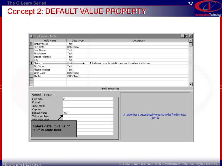 Concept 2: DEFAULT VALUE PROPERTY