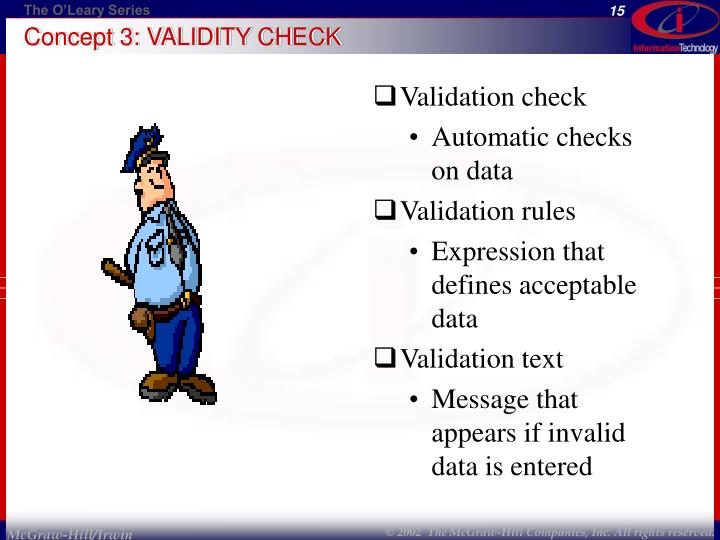 Concept 3: VALIDITY CHECK