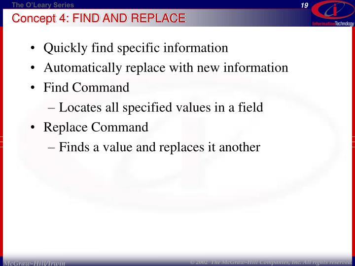 Concept 4: FIND AND REPLACE