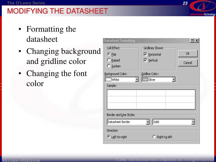 MODIFYING THE DATASHEET