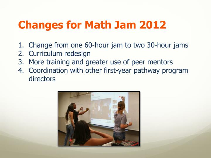 Changes for Math Jam 2012