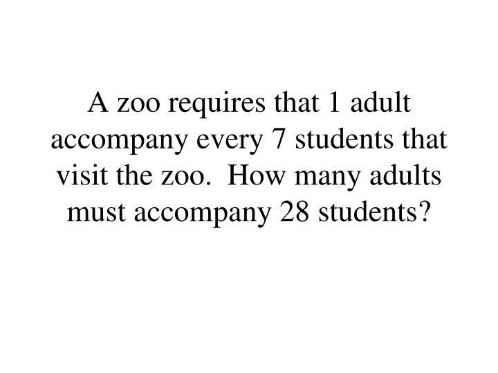 A zoo requires that 1 adult accompany every 7 students that visit the zoo.  How many adults must accompany 28 students?