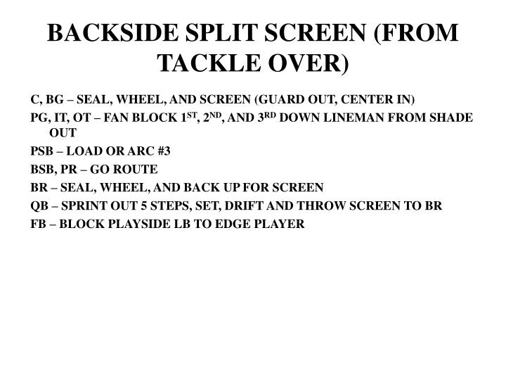 BACKSIDE SPLIT SCREEN (FROM TACKLE OVER)