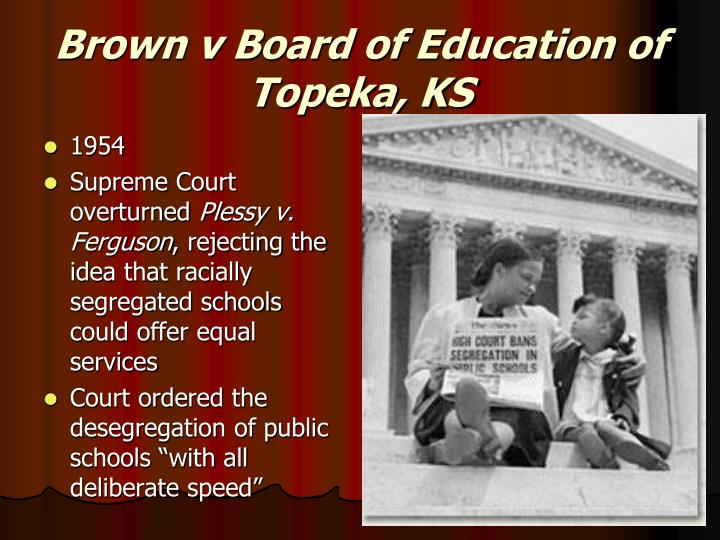 Brown v Board of Education of Topeka, KS
