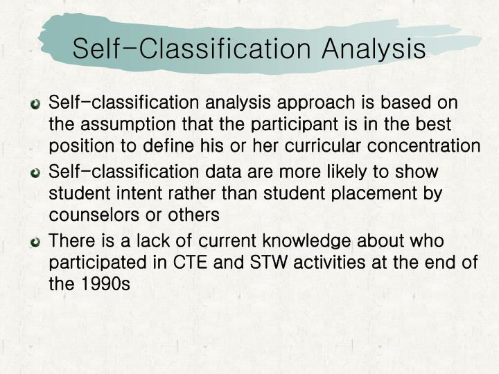 Self-Classification Analysis