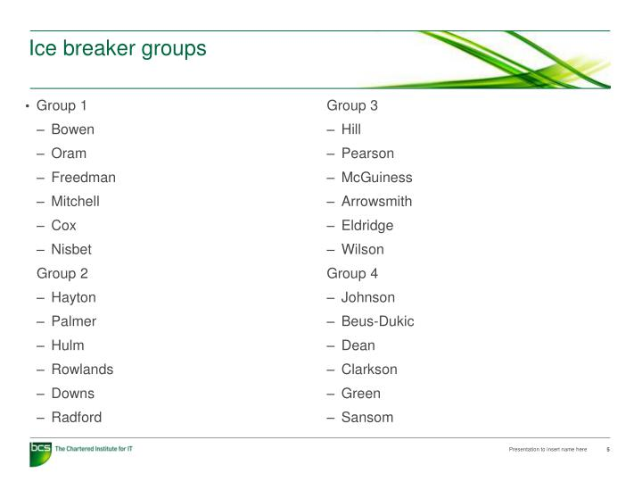 Ice breaker groups
