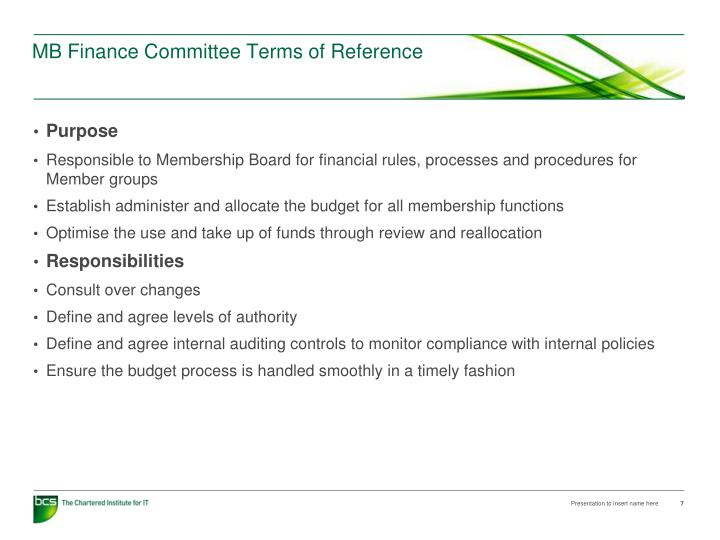MB Finance Committee Terms of Reference