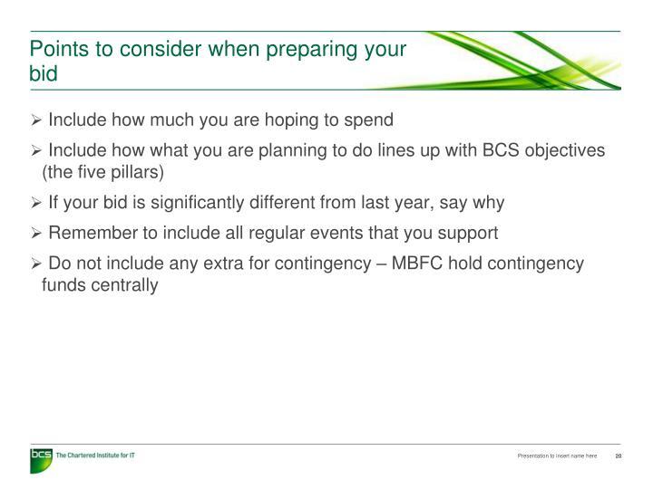 Points to consider when preparing your bid