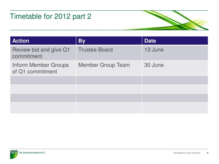 Timetable for 2012 part 2