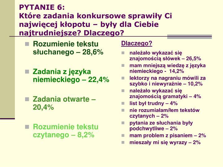 Rozumienie tekstu słuchanego – 28,6%