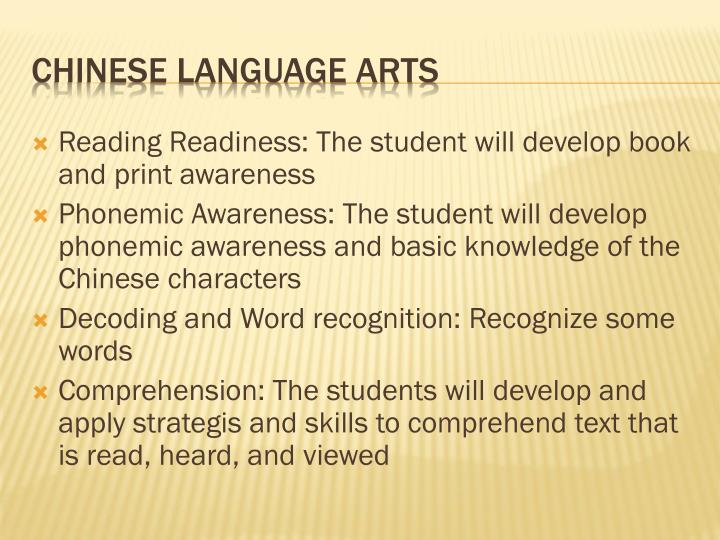 Reading Readiness: The student will develop book and print awareness