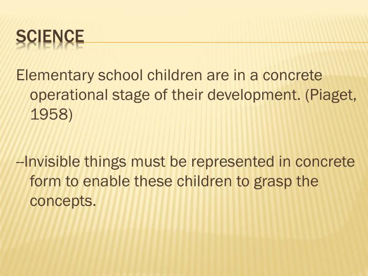 Elementary school children are in a concrete operational stage of their development. (Piaget, 1958)