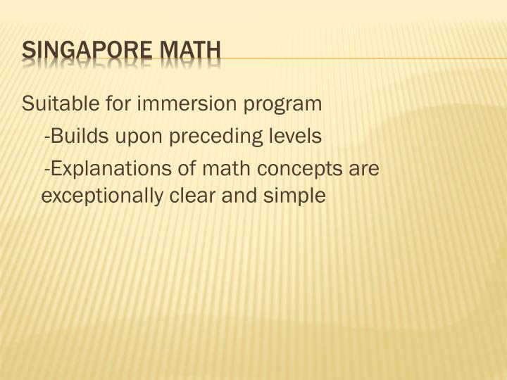 Suitable for immersion program