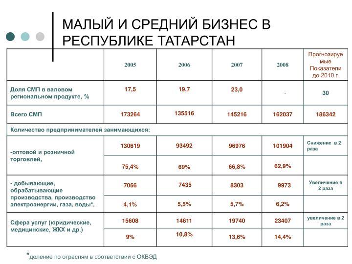 МАЛЫЙ И СРЕДНИЙ БИЗНЕС В РЕСПУБЛИКЕ ТАТАРСТАН
