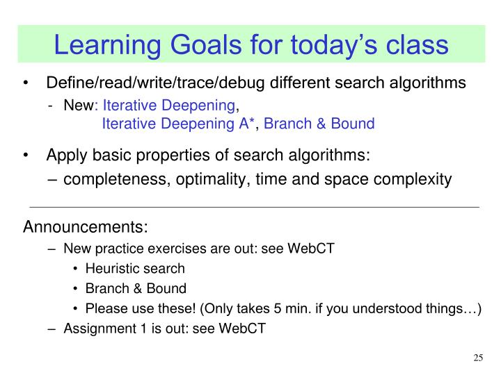 Learning Goals for today's class