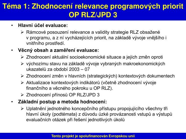 Téma 1: Zhodnocení relevance programových priorit OP RLZ/JPD 3