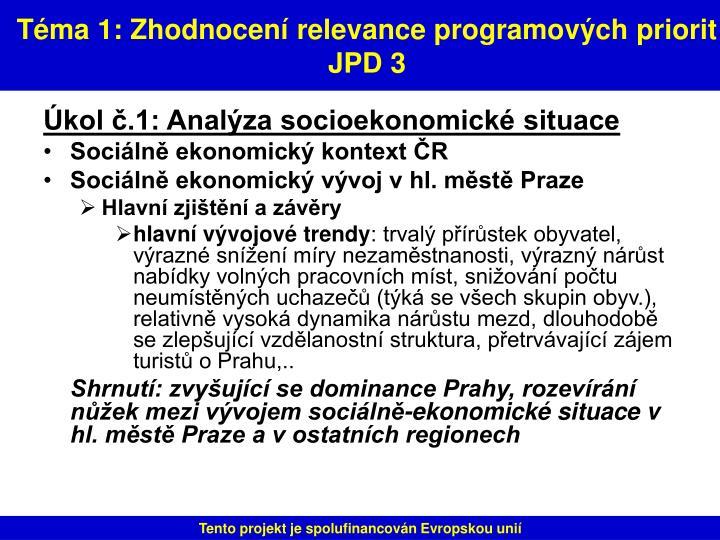 Téma 1: Zhodnocení relevance programových priorit JPD 3
