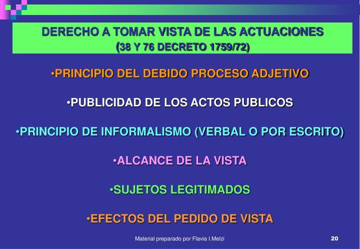 DERECHO A TOMAR VISTA DE LAS ACTUACIONES