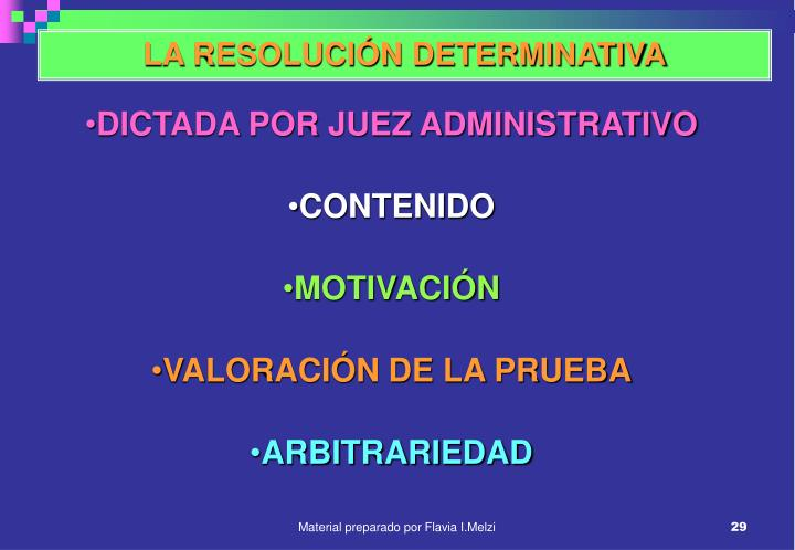 LA RESOLUCIÓN DETERMINATIVA