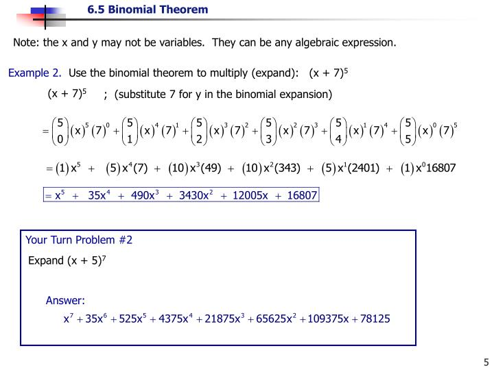 Note: the x and y may not be variables.  They can be any algebraic expression.