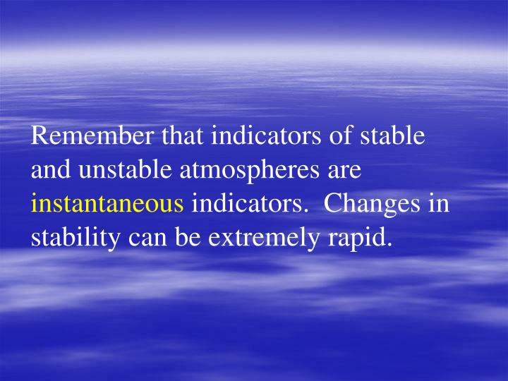 Remember that indicators of stable and unstable atmospheres are