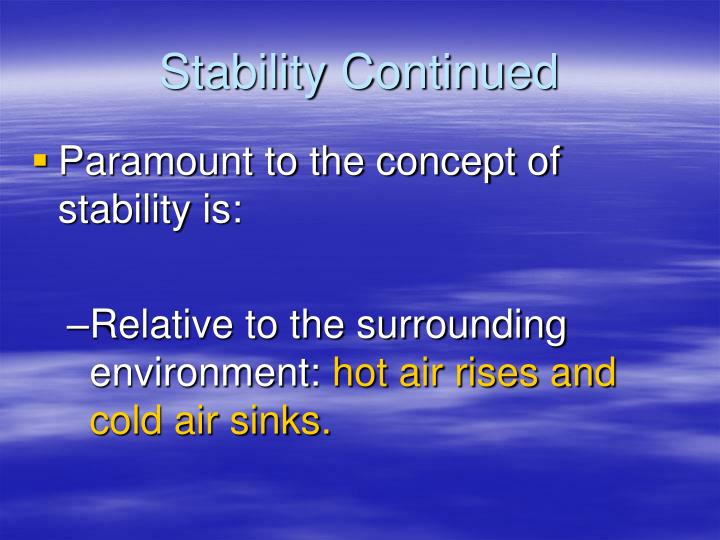 Stability Continued