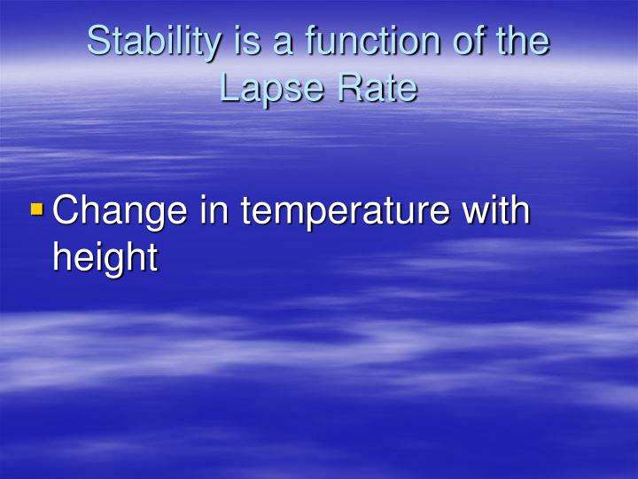 Stability is a function of the Lapse Rate