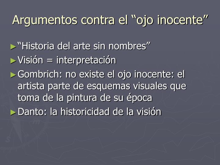 """Argumentos contra el """"ojo inocente"""""""