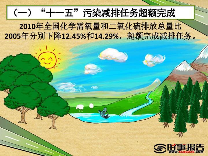 """(一)""""十一五""""污染减排任务超额完成"""