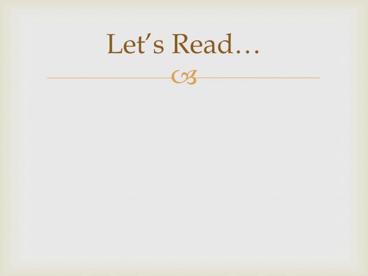 Let's Read…