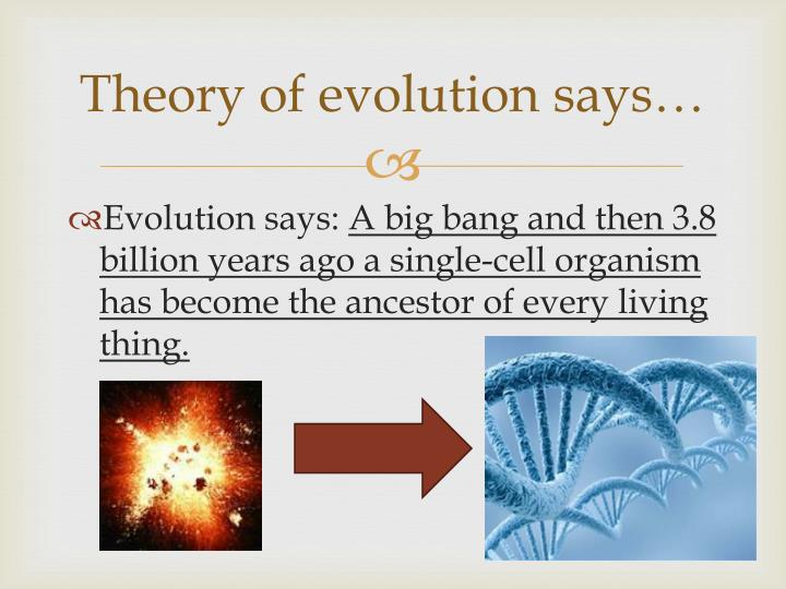 Theory of evolution says…