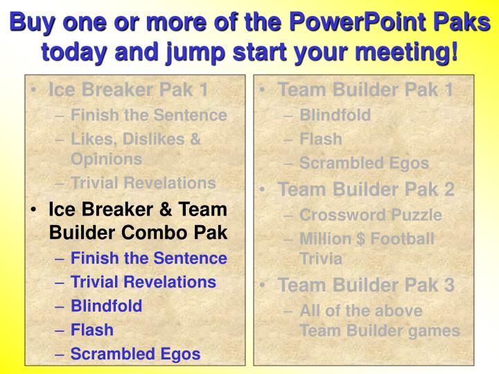 Buy one or more of the PowerPoint Paks today and jump start your meeting!
