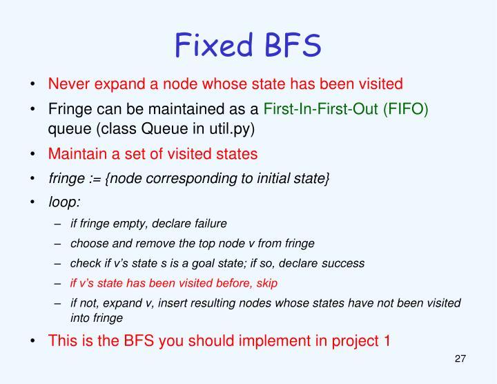 Fixed BFS