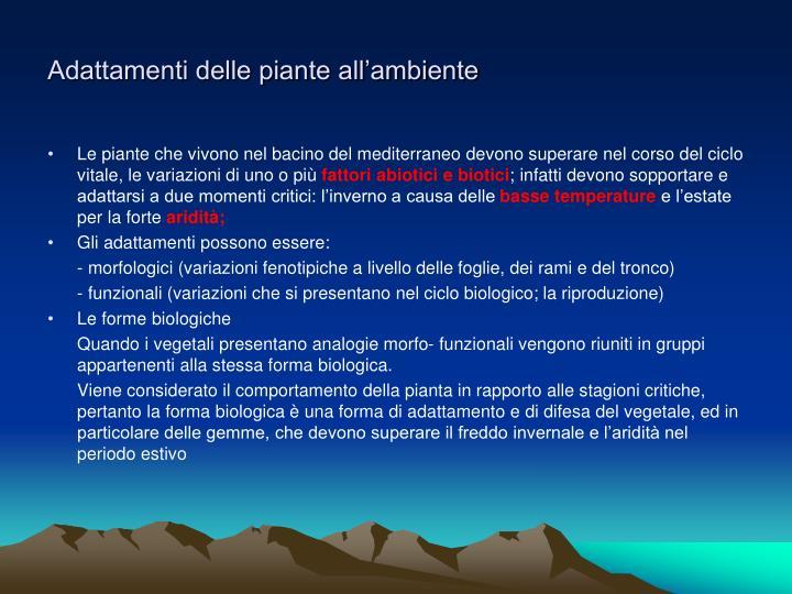 Adattamenti delle piante all'ambiente