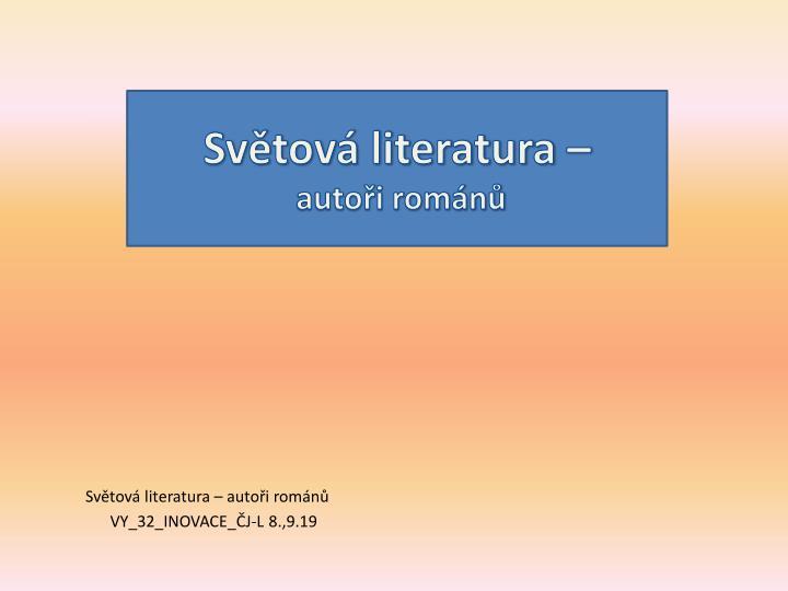Světová literatura –