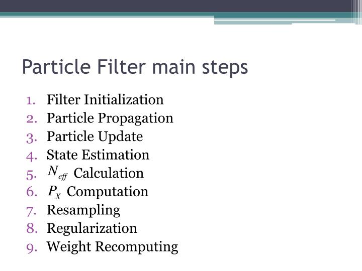 Particle filter main steps