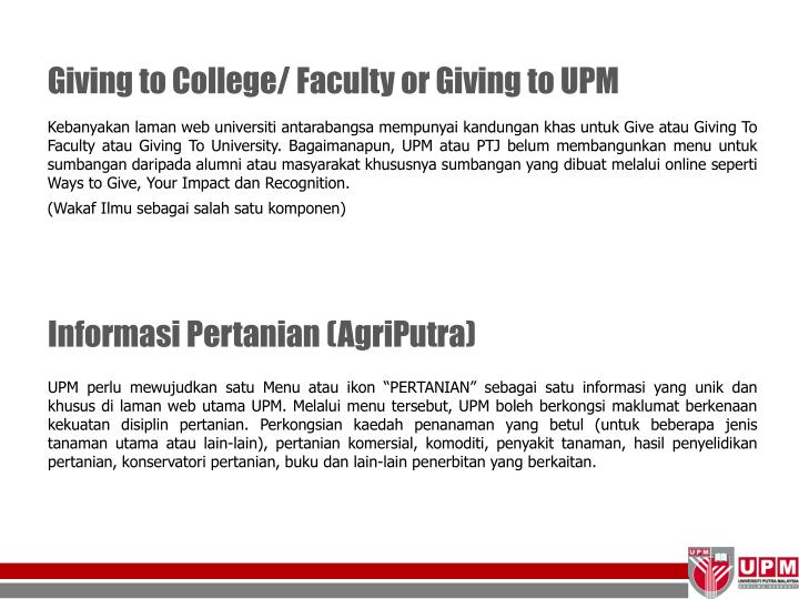 Giving to College/ Faculty or Giving to UPM